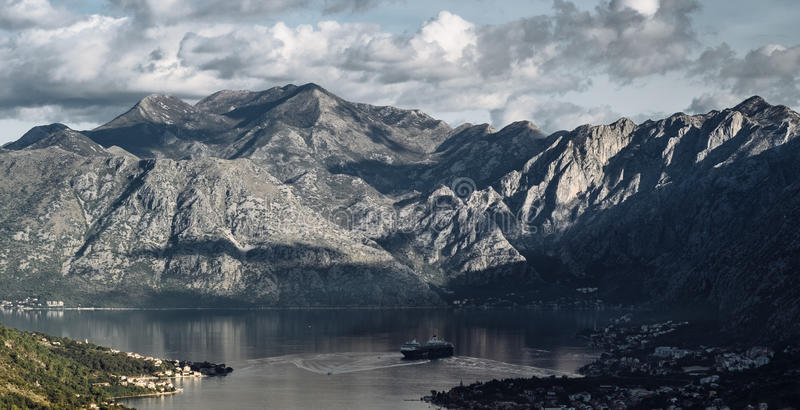 Panoramic landscape of mountain ridge and Kotor bay. Lovcen National Park. Montenegro. View from the top of the mountain. stock image