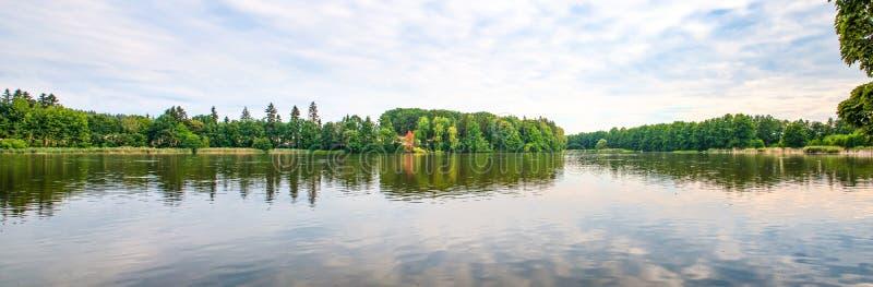 Panoramic landscape. Nature near the lake, sunset, summer. Czech Republic stock photography