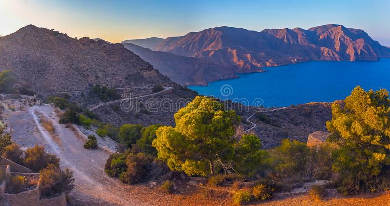 Landscape near empty heritage unusual famous place Castillitos Battery, ancient landmark on coast of Mediterranean Sea. Panoramic landscape near empty heritage stock photo