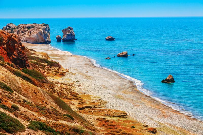 Panoramic landscape Petra tou Romiou (The rock of the Greek), Aphrodite's legendary birthplace in Paphos, Cyprus island,. Mediterranean Sea. Amazing blue green royalty free stock photo