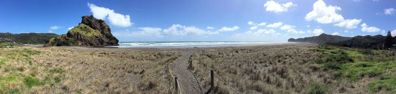 Panoramic landscape of Piha beach New Zealand. Panoramic landscape of Piha beach in the west coast on the North Island near Auckland, New Zealand stock photo