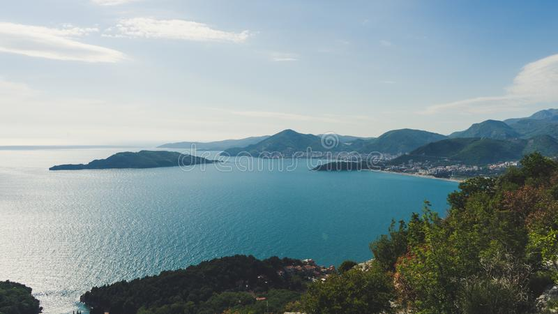 Panoramic landscape of the rocky coastline sea and Beach. Budva, Montenegro. Top view. View from the top of the mountain royalty free stock photography