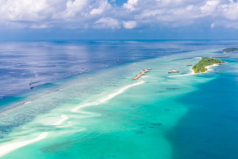 Panoramic landscape seascape aerial view over a Maldives Male Atoll islands. White sandy beach seen from above stock images