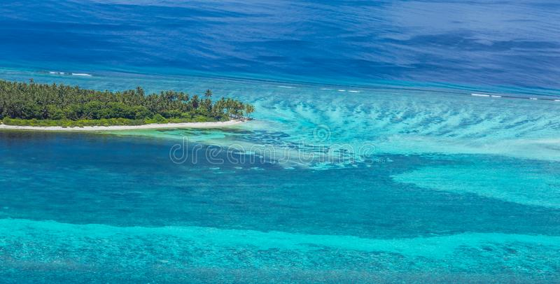 Panoramic landscape seascape aerial view over a Maldives Male Atoll islands. White sandy beach seen from above stock image