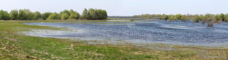 Panoramic landscape with spring flooding of Pripyat River near Turov, Belarus. Panoramic landscape with spring flooding of the Pripyat River near Turov, Belarus stock image