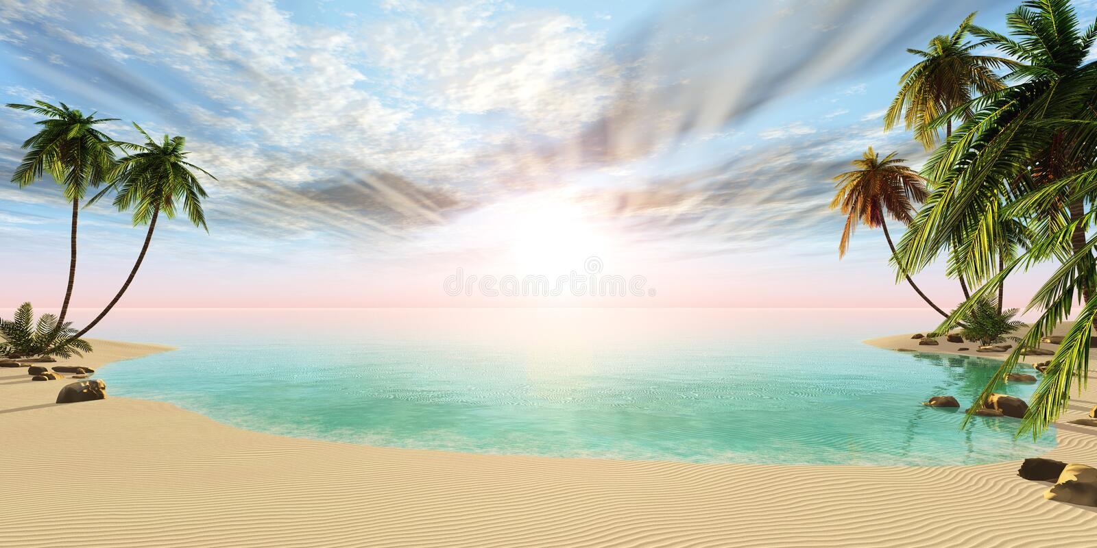 Panoramic landscape of tropical beach with palm trees royalty free illustration