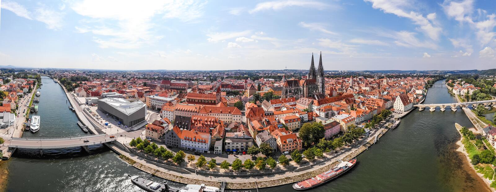 Panoramic landscape with view on Danube river and Regensburg city architecture, Germany, Aerial photography. Panoramic landscape with view on Danube river and royalty free stock image