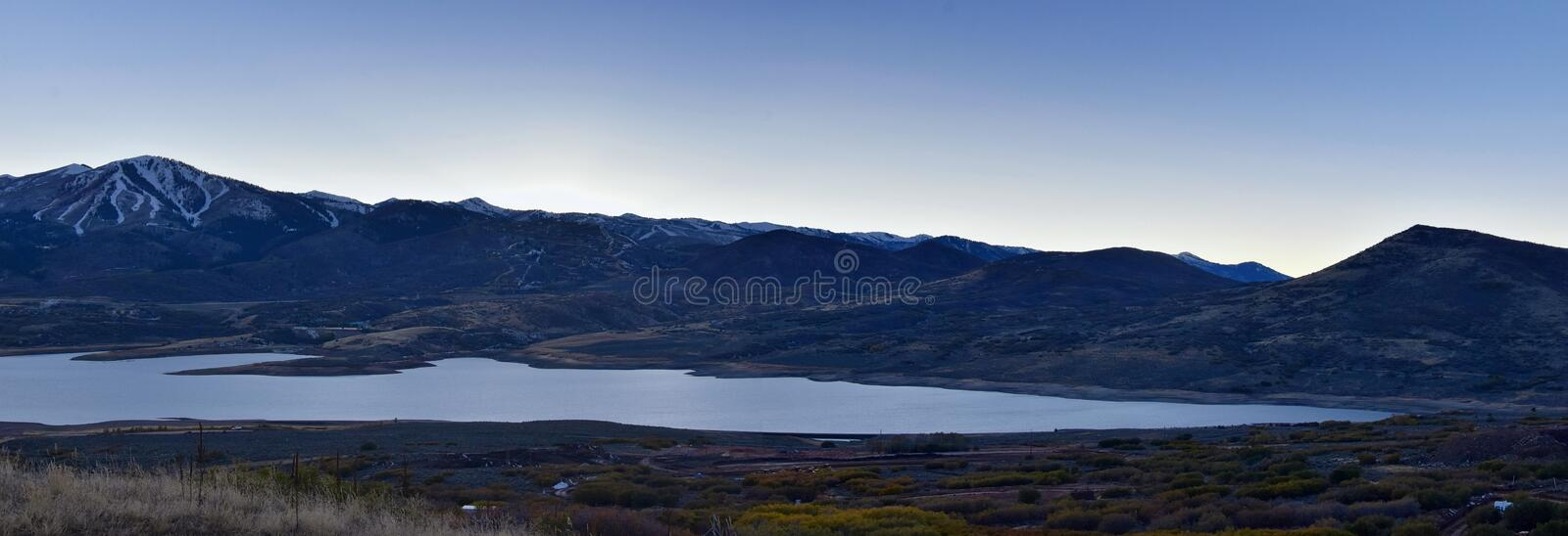 Panoramic Landscape view Jordanelle Reservoir off Utah Highway 248, in the Wasatch back Rocky Mountains, and Cloudscape. America royalty free stock photos