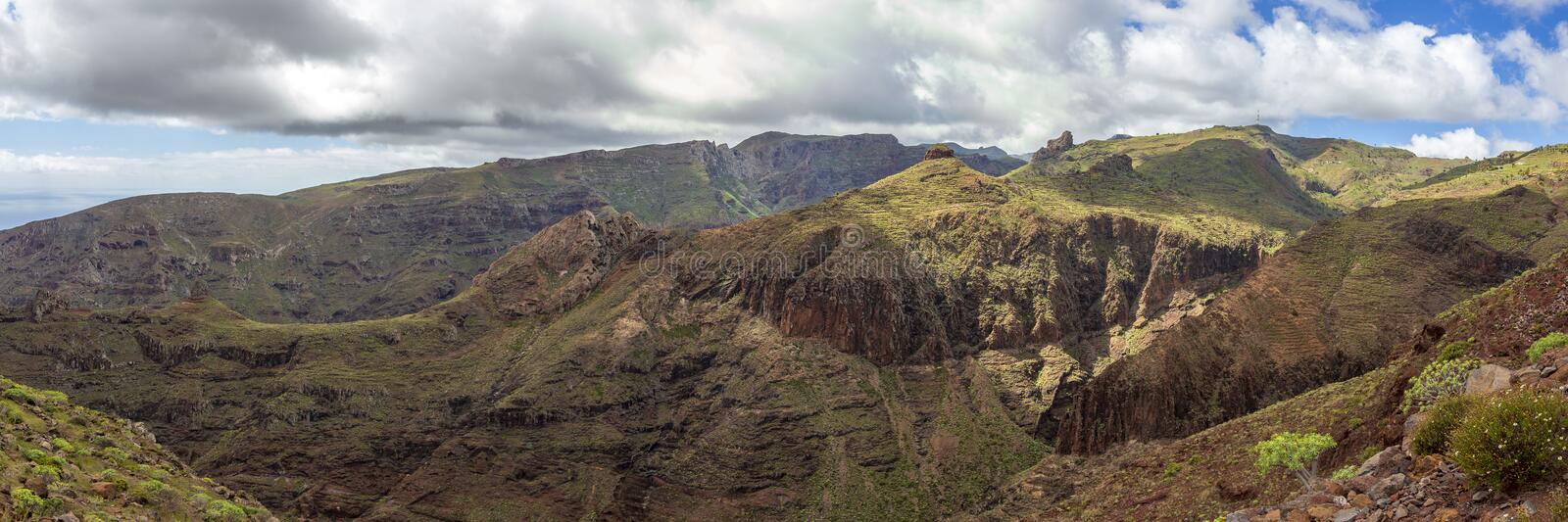 Panoramic landscape view at la Gomera, Canary Islands. Panoramic landscape view at la Gomera, Canary Islands, Spain stock photography