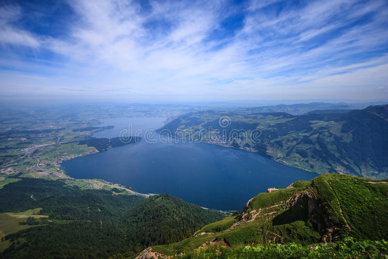 Panoramic Landscape View of Lake Lucerne and mountain ranges from Rigi Kulm viewpoint, Lucerne, Switzerland, Europe stock photo