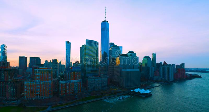 Panoramic landscape view of lower Manhattan with the one world trade building, New York City -usa.2019 stock image