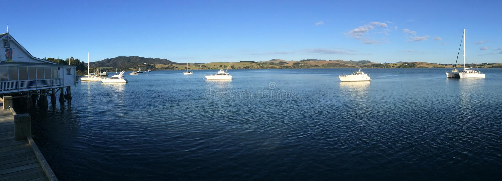 Panoramic landscape view of Mangonui Northland New Zealand. Panoramic landscape view of Mangonui Northland at the north Island of New Zealand.(BW royalty free stock image