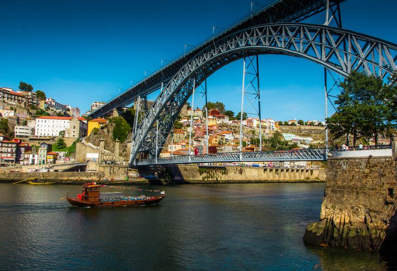 Tradirional boat Barcos rabelos in the old town on the Douro River in Ribeira in the city centre of Porto in Porugal stock photo