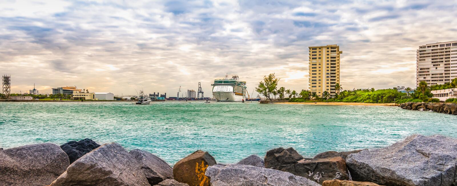 Panoramic landscape view of Port Everglades, Fort Lauderdale, Florida. Cruise ship leaving the harbor. royalty free stock photo