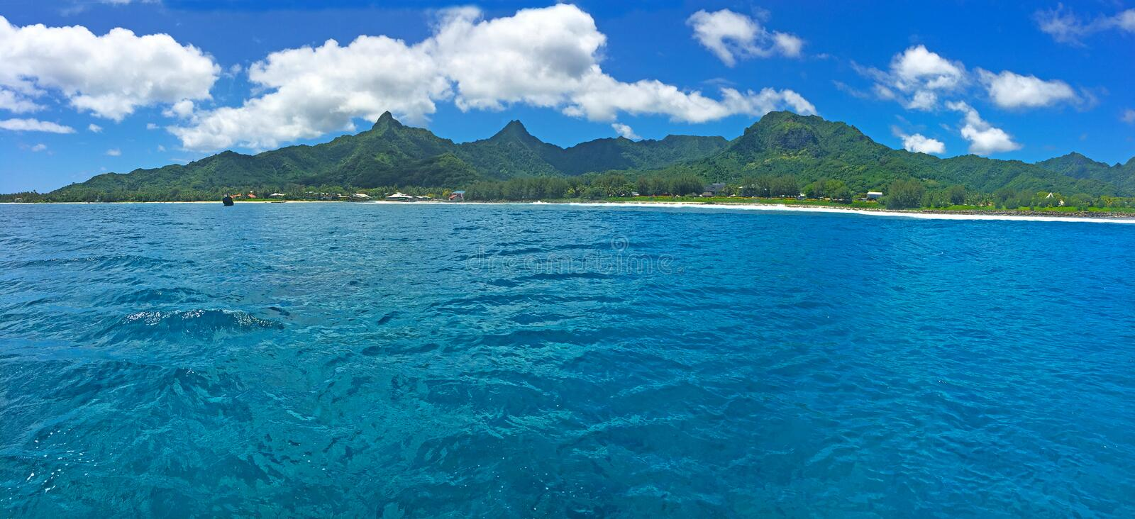 Panoramic landscape view of in Rarotonga, Cook Islands royalty free stock photo
