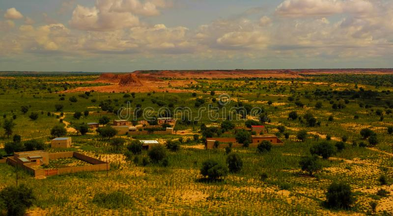 Panoramic landscape view to sahel and oasis, Dogondoutchi, Niger. Aerial Panoramic landscape view to sahel and oasis at Dogondoutchi, Niger stock photography