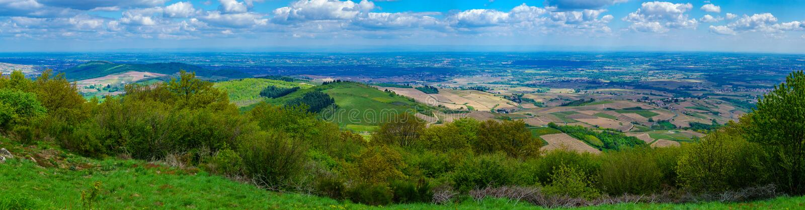 Panoramic landscape of vineyards and countryside in Beaujolais. Rhone department, France stock images