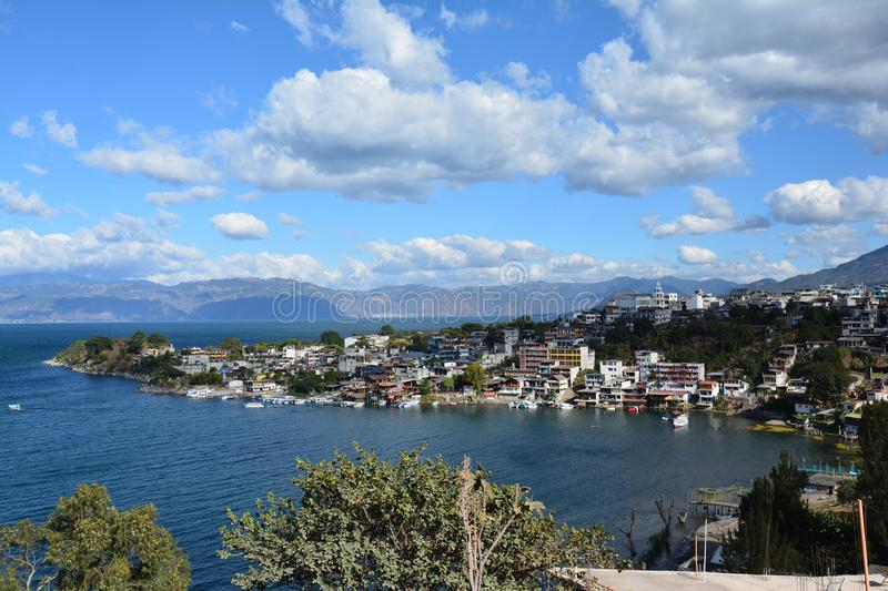 Panoramic Landscapes Atitlan Lake Guatemala stock photo