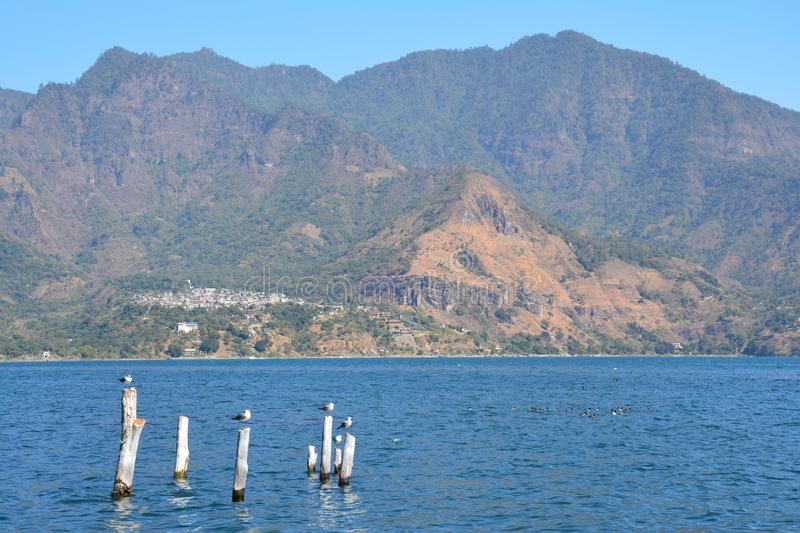Panoramic Landscapes Atitlan Lake Guatemala stock image