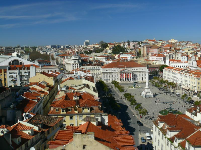 Panoramic Lisbon view stock photo