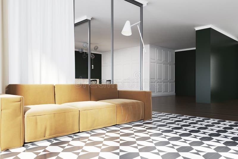 Download Panoramic Living Room Corner Yellow Sofa Stock Illustration    Illustration Of Light, Front: