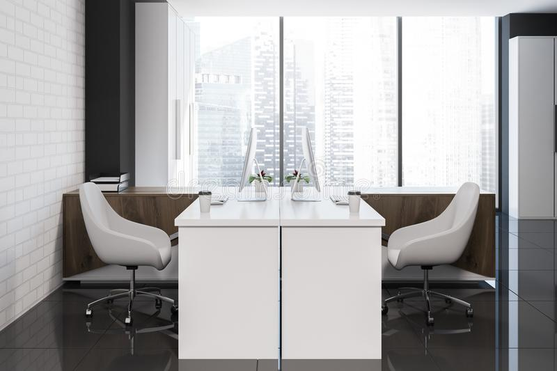 Panoramic luxury office interior. Manager office interior with white brick walls, a gray tile floor, computer tables and a window with a city view. 3d rendering vector illustration