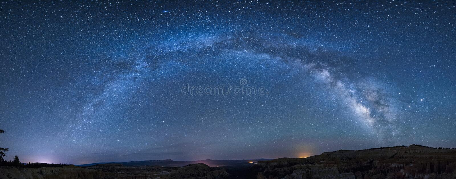 Panoramic milky way over bryce canyon royalty free stock photography