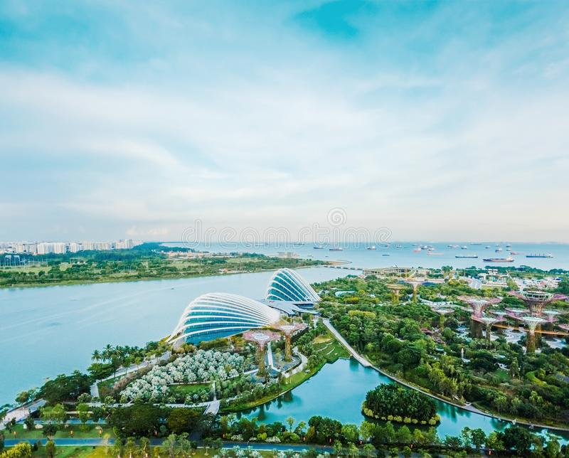 Panoramic modern city skyline bird eye aerial view of Gardens by the bay in Singapore stock photo