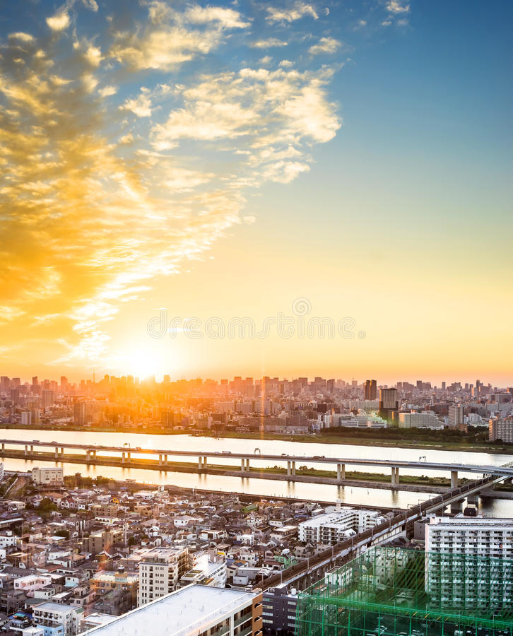 Panoramic modern cityscape building bird eye aerial view with Mount Fuji under sunrise and morning blue bright sky in Tokyo,Japan stock image