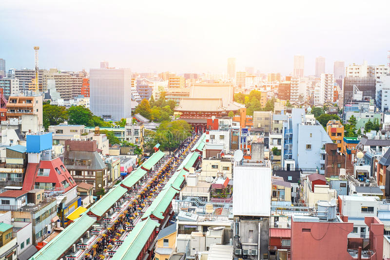Panoramic modern cityscape building bird eye aerial view of Sensoji shrine under sunrise and morning blue bright sky in Tokyo,. Asia Business concept for real stock photos