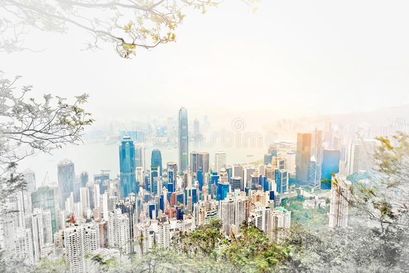 Panoramic modern cityscape building view of Hong Kong mix hand drawn sketch illustration. Asia Business concept for real estate - panoramic modern cityscape vector illustration