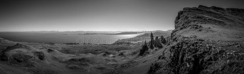 Panoramic monochrome Old Man of Storr stock photos