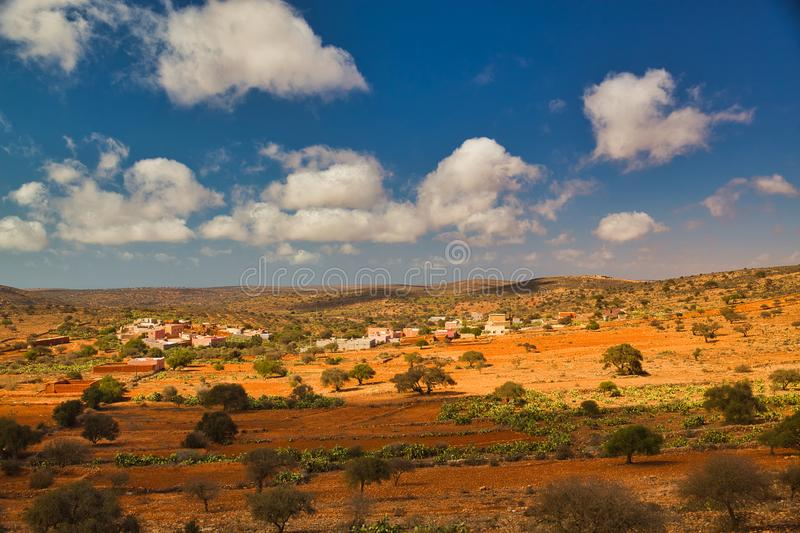 Panoramic Moroccan landscape with hills and cactuses stock images