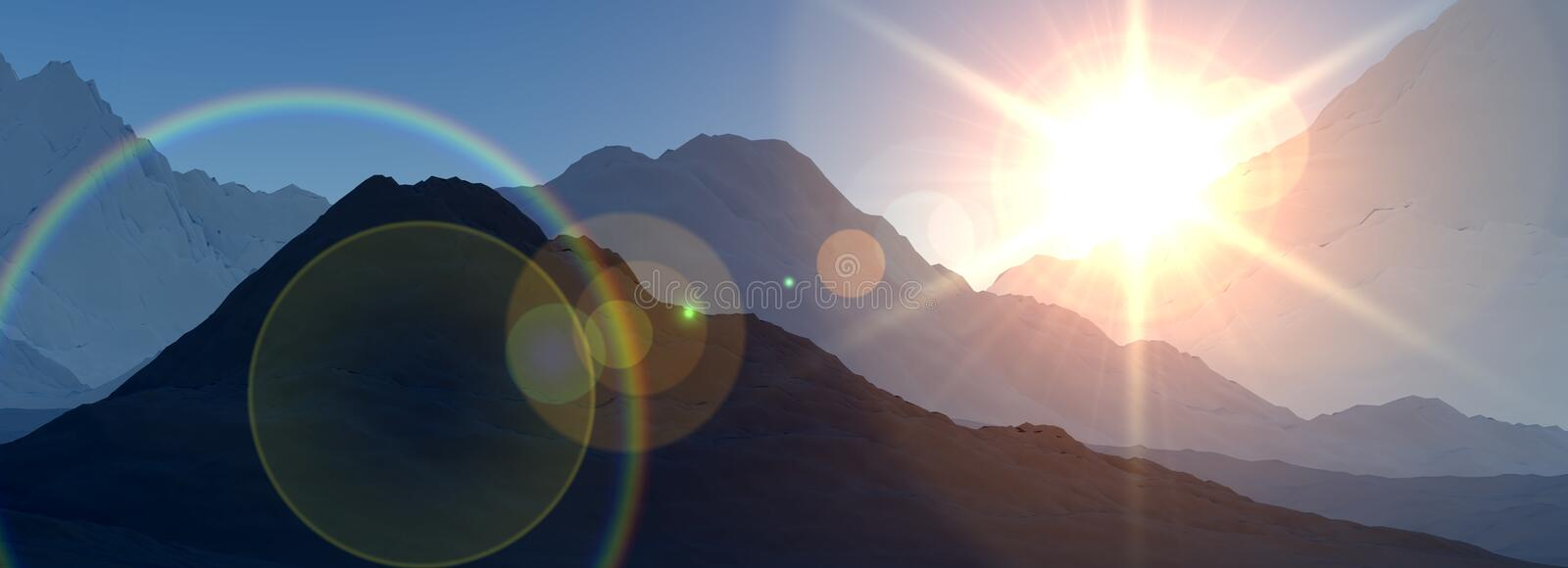Panoramic Mountain View 2. An image of a panoramic mountain view with a setting or rising sun stock illustration