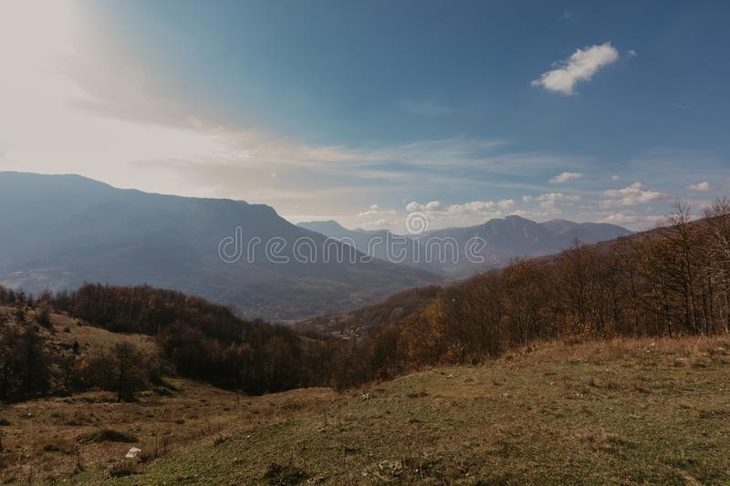 Panoramic mountain view of Bosnia and Herzwgovina royalty free stock photography
