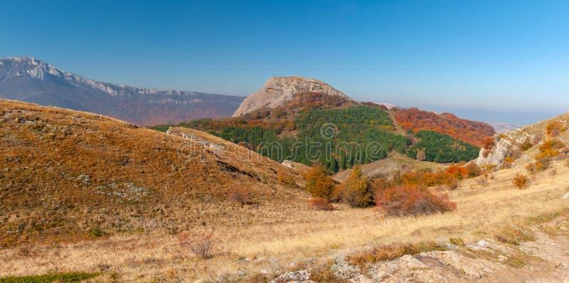 Mountains landscape at autumn season - mountain pasture Demerdzhi, Crimea, Ukraine royalty free stock image