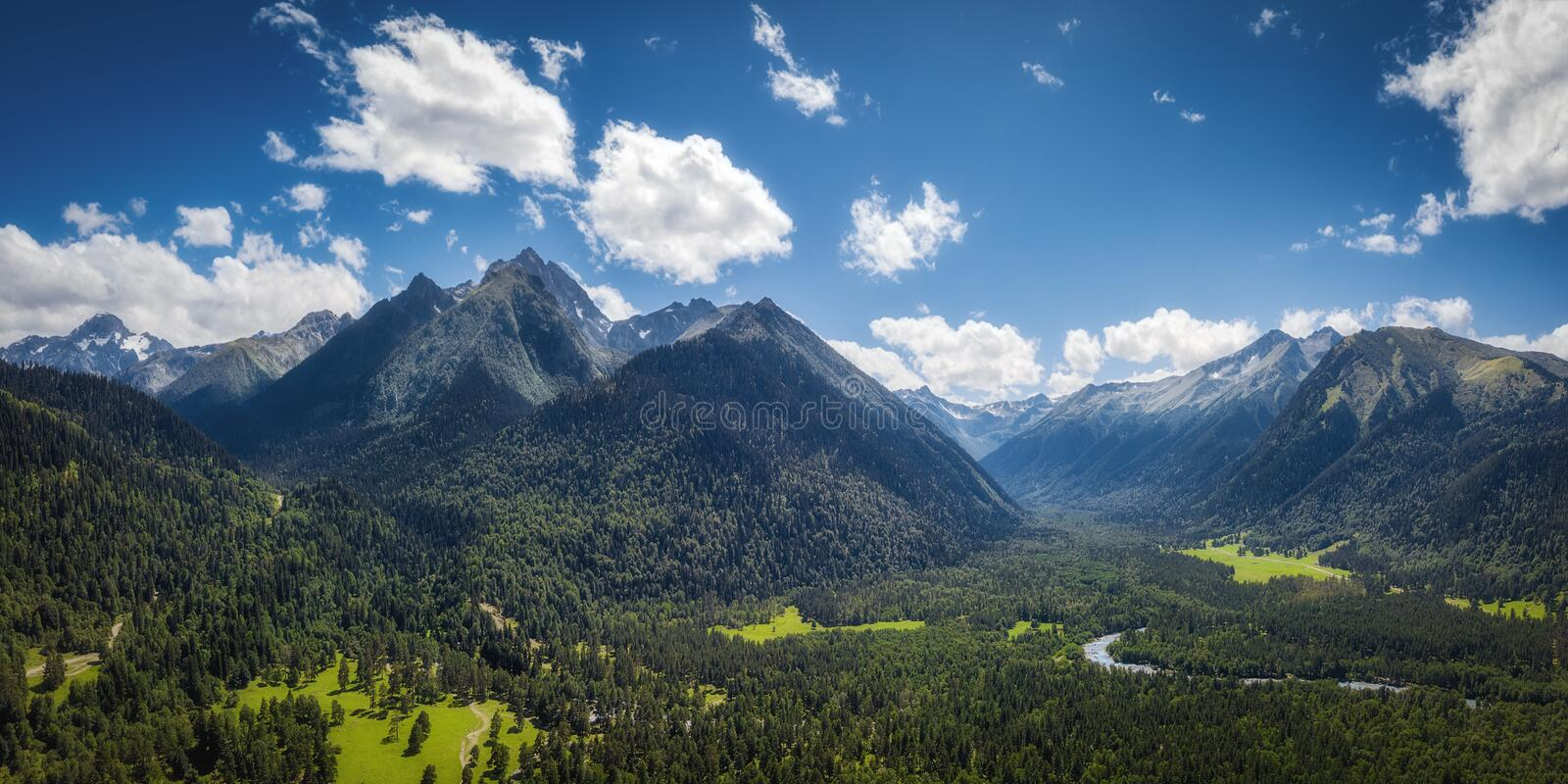 Panoramic nature mountains landscape royalty free stock photo