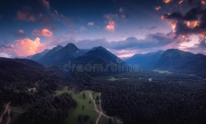 Panoramic nature mountains landscape stock images