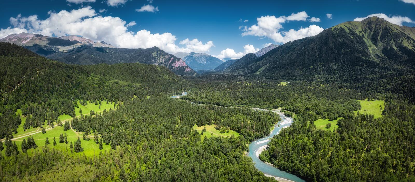 Panoramic nature mountains dramatic landscape royalty free stock photos