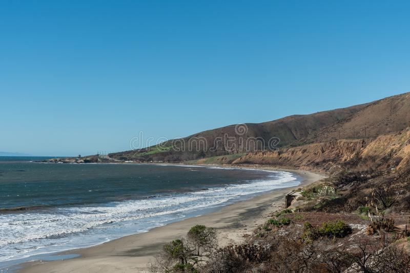 Panoramic Nicholas Canyon Beach vista in the aftermath of the Woolsey Fires, Malibu. California royalty free stock image