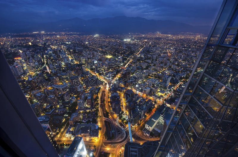 Panoramic city view from the Gran Torre Santiago in Santiago de Chile. royalty free stock images