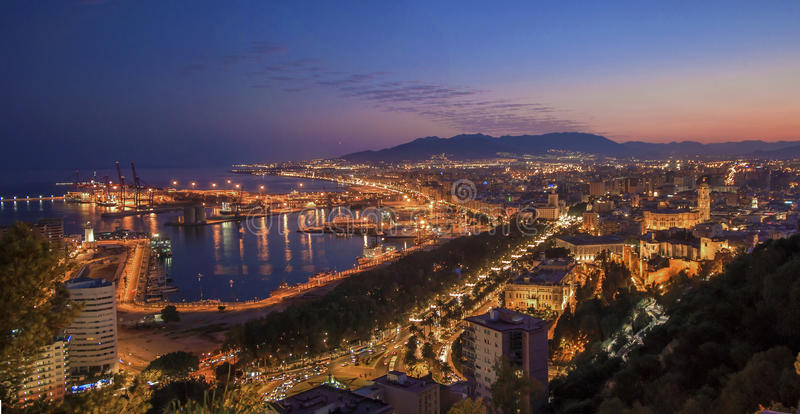 panoramic night view of malaga city spain stock photo image of landmark beach 48967818. Black Bedroom Furniture Sets. Home Design Ideas
