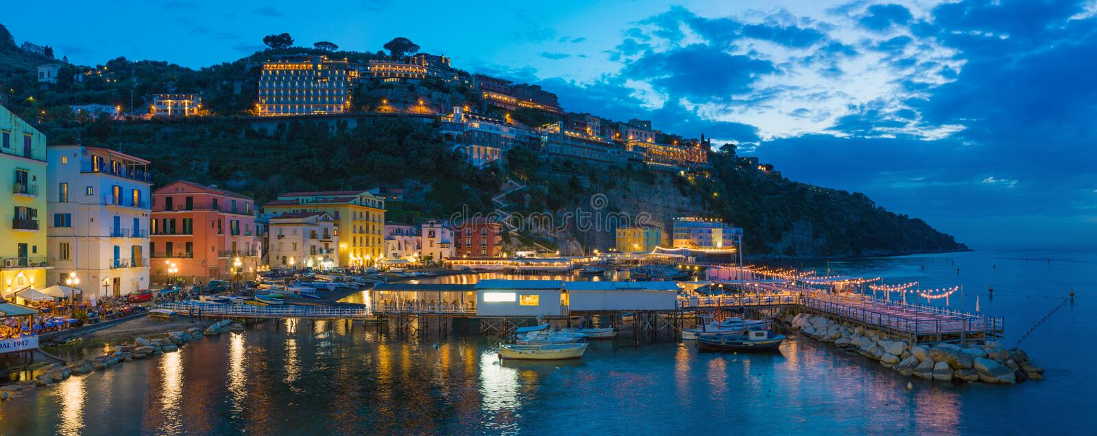 Panoramic night view of Marina grande in Sorrento - popular tourist destination in Italy royalty free stock photo