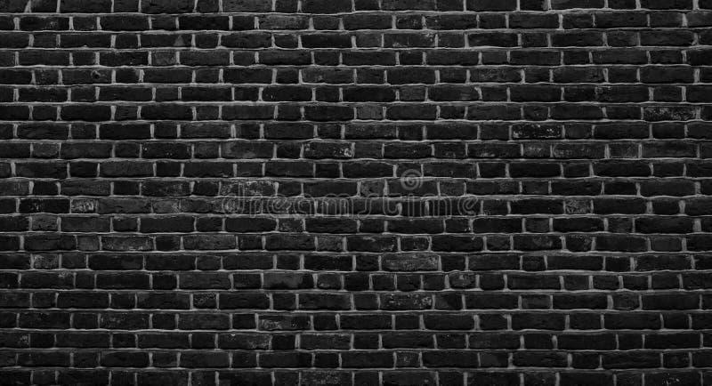 Panoramic Old Grunge Black and White Brick Wall Background stock photo