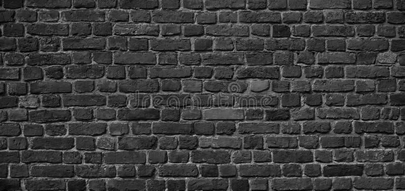 Panoramic Old Grunge Black and White Brick Wall Background stock image