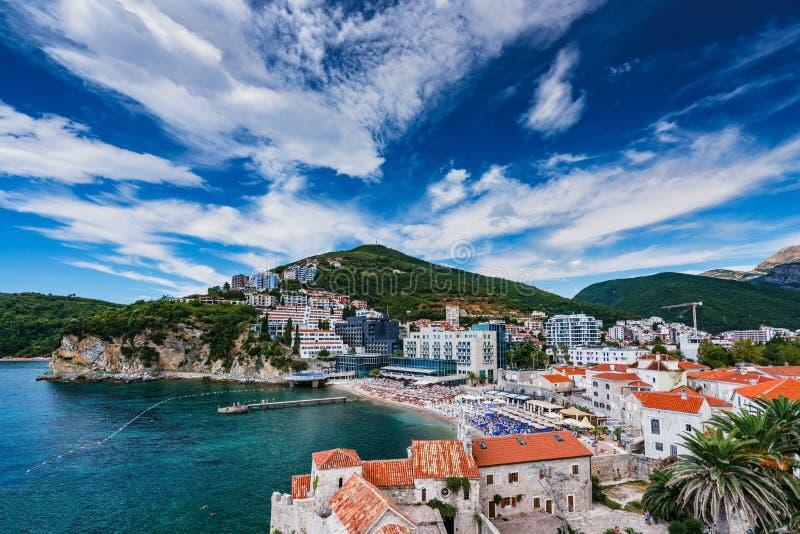 Panoramic of Budva, Montenegro stock image