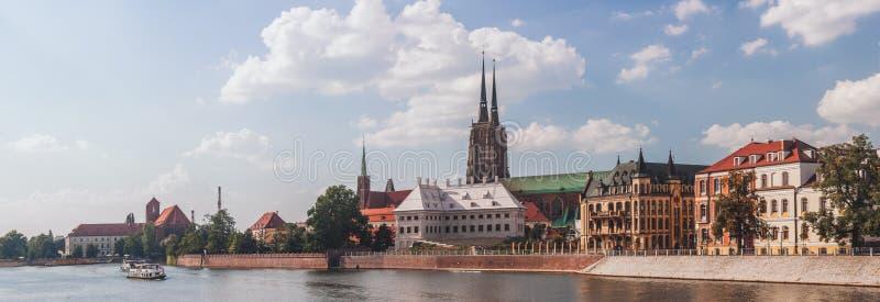 Ostrow Tumski in Wroclaw, Poland. Panoramic Ostrow Tumski in Wroclaw, Poland stock images
