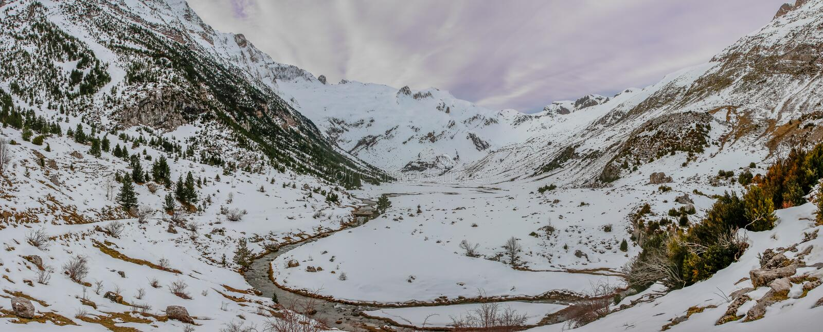 Panoramic of the Otal Valley Huesca snowy. Winter Nature Concept royalty free stock photo