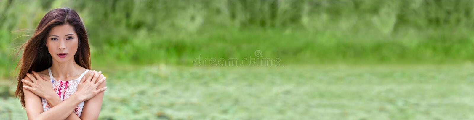 Panorama Chinese Asian Young Woman Girl Outdoors Natural Green Web Banner royalty free stock photography