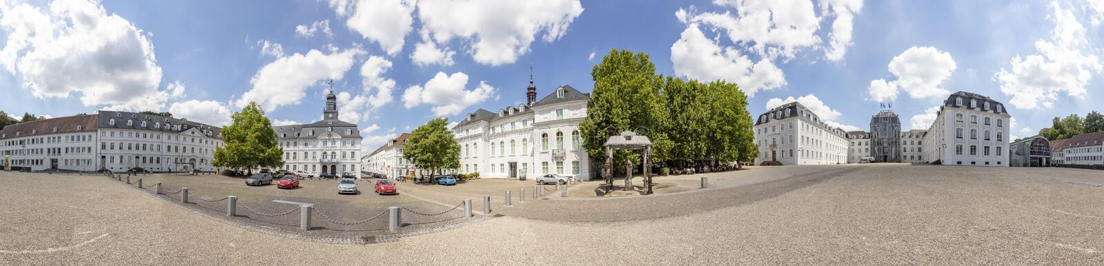 Panoramic outside view to  castle in Saarbruecken. SAARBRUECKEN, GERMANY - AUG 5, 2018: panoramic outside view to  castle in Saarbruecken under blue sky, baroque royalty free stock images